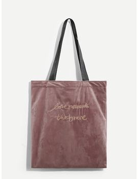Slogan Print Velvet Tote Bag by Sheinside