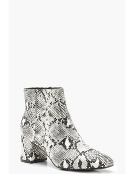 Snake Block Heel Shoe Boots by Boohoo