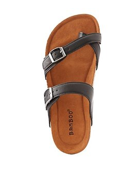 Bamboo Band Buckle Sandals by Charlotte Russe