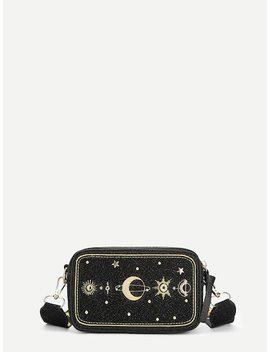 Galaxy Embroidery Glitter Crossbody Bag by Sheinside
