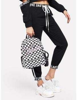 Slogan Embroidery Gingham Backpack by Shein