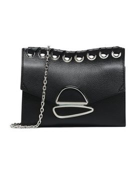 Whipstitch Trimmed Embellished Textured Leather Shoulder Bag by Proenza Schouler