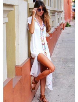 2018 Cotton Embroidered Pareo Beach Cover Up Women Sexy Slit Long Beach Dress Swimsuit Swimwear Bathing Suits Summer Beach Wear  by Matteobenni
