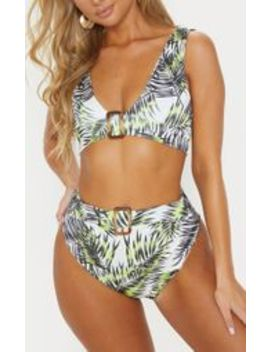 Lime Palm High Belted Waist Bikini Bottom by Prettylittlething