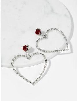 Open Heart Shaped Rhinestone Drop Earrings by Sheinside