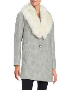 Olivia Faux Fur Collar Wool Blend Plaid Coat by T Tahari