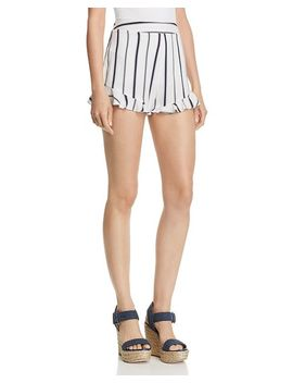 Striped Ruffle Hem Shorts by Blu Pepper