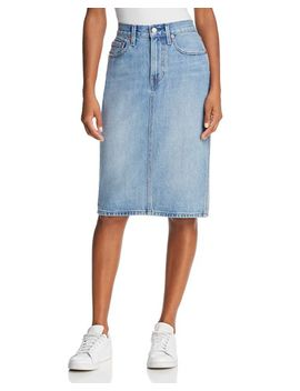 Slit Denim Skirt In Blue Waves by Levi's