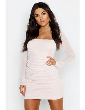 Square Neck Ruched Mesh Bodycon Dress by Boohoo