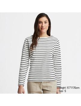 Camiseta AlgodÓn Cuello Barco Rayas Mujer by Uniqlo