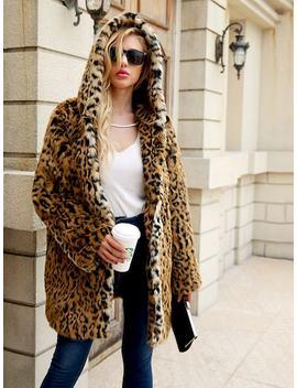 Leopard Open Front Hoodie Outerwear by Sheinside