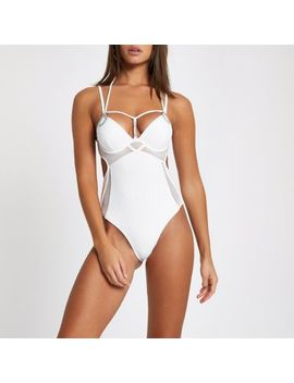 White Diamante Trim Plunge Cut Out Swimsuit by River Island