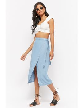 Chambray Midi Wrap Skirt by Forever 21