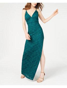 Juniors' Glitter Lace A Line Dress by Emerald Sundae