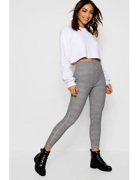 Dogtooth Crepe Leggings by Boohoo