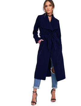 Navy Oversized Wool Waterfall Trench Jacket Coat by Urban Mist