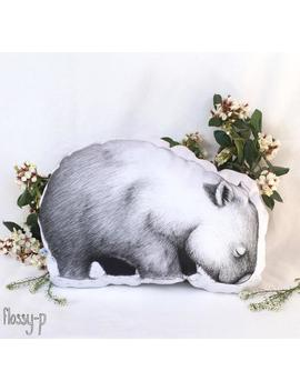 Wombat Stuffie, Medium Size. Australian Animal Softie, Plush Soft Toy. Illustration By Flossy P. White And Gold Back. by Etsy