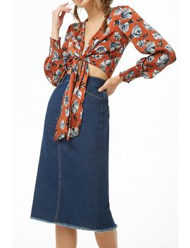 Frayed Denim Skirt by Forever 21