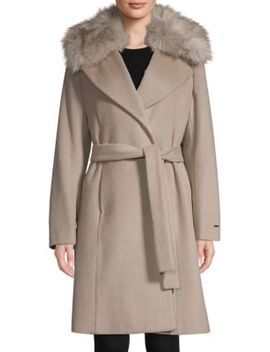 Fiona Faux Fur Trimmed Wrap Coat by Tahari