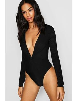 Tall Rib Knot Front Bodysuit by Boohoo