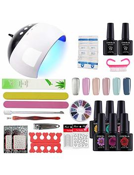 Coscelia Gel Nail Starter Kit Gel Nail Polish 6pcs Colour Gel 10ml, Top And Base Coat Set Uv Led Nail Lamp Manicure Tools by Coscelia