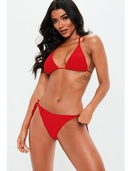 Red Crinkle Mix And Match Triangle Bikini Top by Missguided