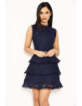 Navy Cut Out Crochet Mini Dress by Ax Paris