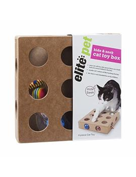 Sinobay Pet Products, Cat Toy Box For Kitty, Kitten, Interactive Indoor Puzzle Box, 3 Balls And A Mouse, 17 Holes, Hide & Seek by Sinobay