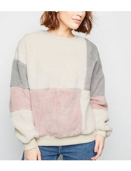 Pink Faux Fur Patchwork Sweatshirt by New Look