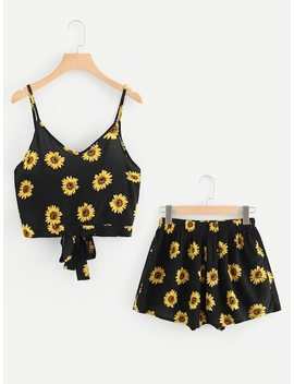 Tie Back Sunflower Print Cami Top With Shorts by Sheinside