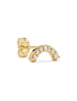 Single Row Rainbow 14 Karat Gold Diamond Earring by Andrea Fohrman