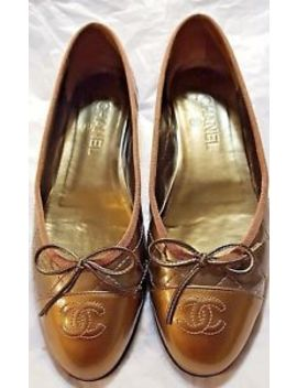 Chanel Classic Ballet Flats Quilted Cc Toes Patent Leather Ombre Gold 39.5 8 8.5 by Chanel