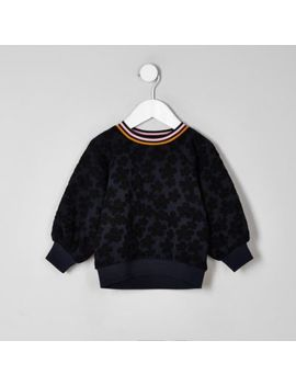 Mini Girls Navy Floral Jacquard Sweatshirt by River Island