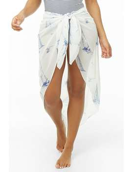 Boat Print Sarong Swim Cover Up by Forever 21