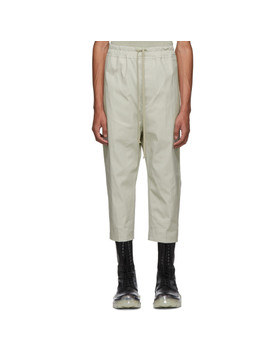 Grey Cropped Astaires Drawstring Trousers by Rick Owens