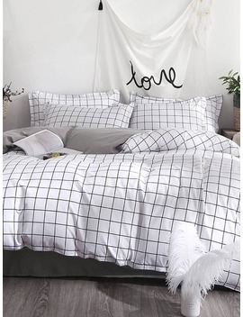 Allover Grid Duvet Cover by Romwe