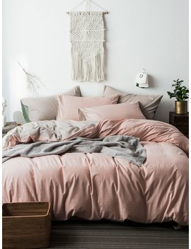 Solid Color Pillow & Duvet Cover Set by Romwe