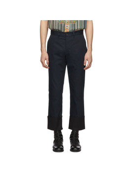 pantalon-chinos-bleu-marine-turn-up by loewe