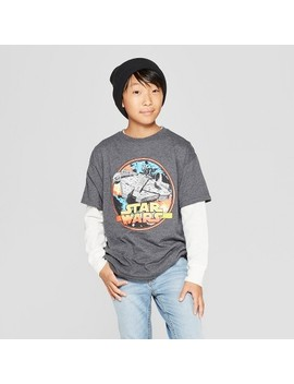 Boys' Star Wars Millennium Falcon Short Sleeve Graphic T Shirt   Charcoal Heather by Star Wars