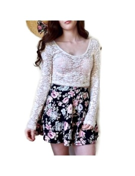 Velvet Cream Lace Long Sleeve Cropped Top by Mossimo Supply Co.