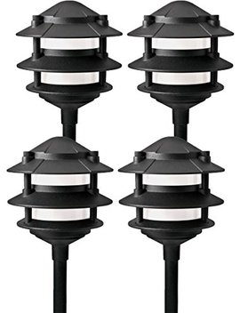 Paradise Gl22764 Low Voltage Cast Aluminum 11 W Path Light (Black, 4 Pack) by Paradise