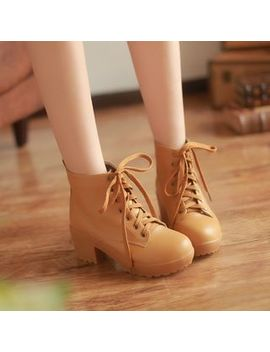 Pastel Pairs   Chunky Heel Lace Up Ankle Boots by Pastel Pairs