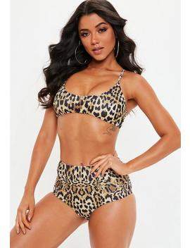 Brown Leopard Print Cross Back Bikini Top  Mix & Match by Missguided