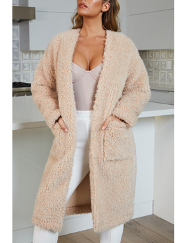 Dreamy Collarless Oversized Teddy Duster Coat In Sand by Oh Polly