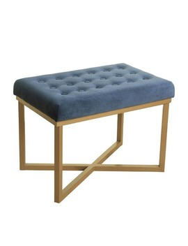Strick & Bolton Joan Rectangular Ottoman With Midnight Velvet Tufted Cushion And Gold Metal X Base by Strick & Bolton