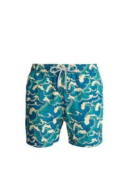 Ohama Wave Print Swim Shorts by Retromarine