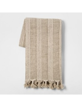 Washed Cotton Linen Stripe Throw Blanket Neutral   Threshold™ by Shop Collections