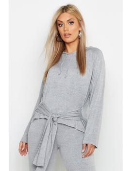 Plus Tie Front Hoody by Boohoo