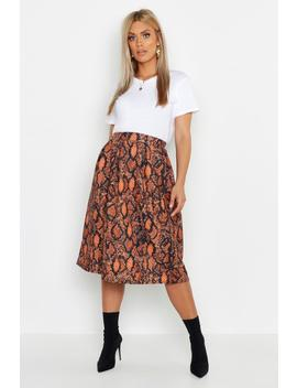 Plus Snake Print Scuba Midi Skirt by Boohoo