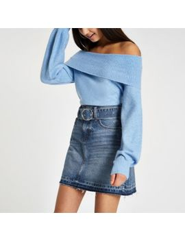 Blue Belted Denim Mini Skirt by River Island